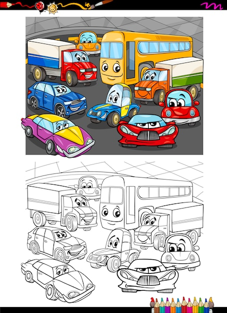 Libro para colorear de coches | Descargar Vectores Premium