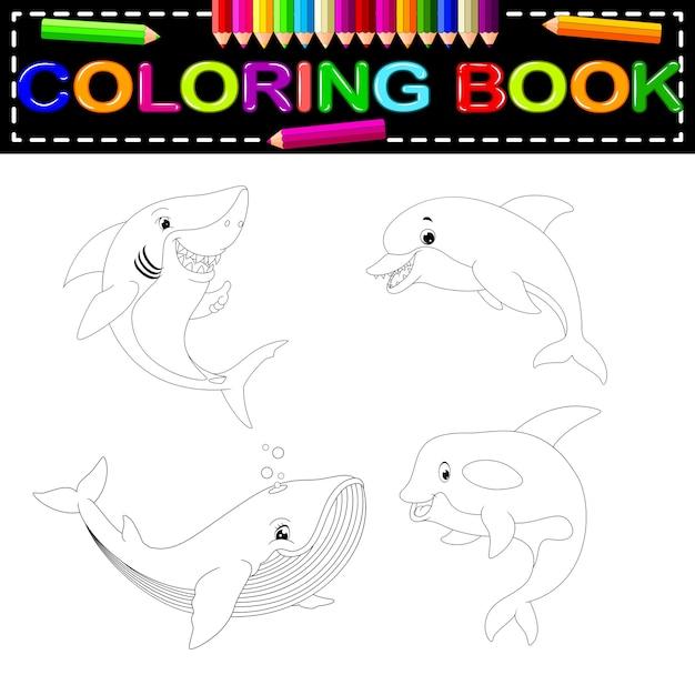 Libro para colorear peces | Descargar Vectores Premium