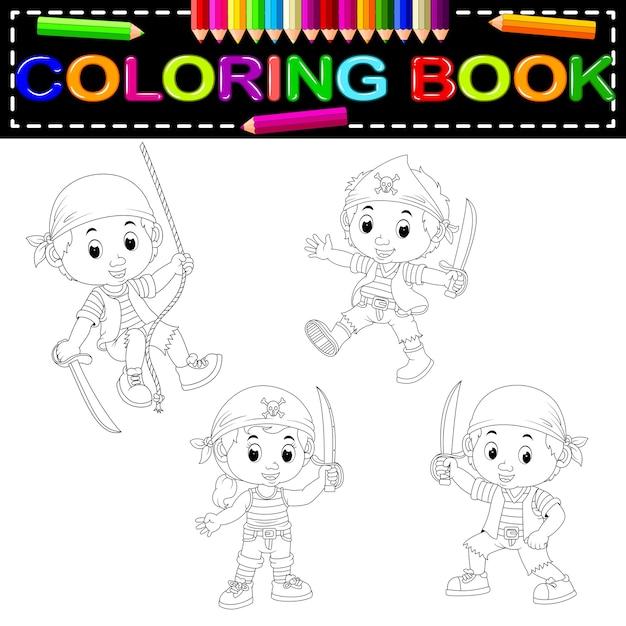 Libro para colorear pirata | Descargar Vectores Premium