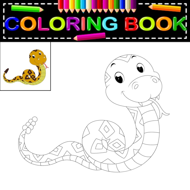 Libro para colorear serpiente | Descargar Vectores Premium