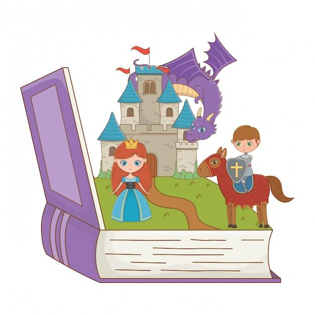 Libro y personaje de cuento de hadas. vector gratuito