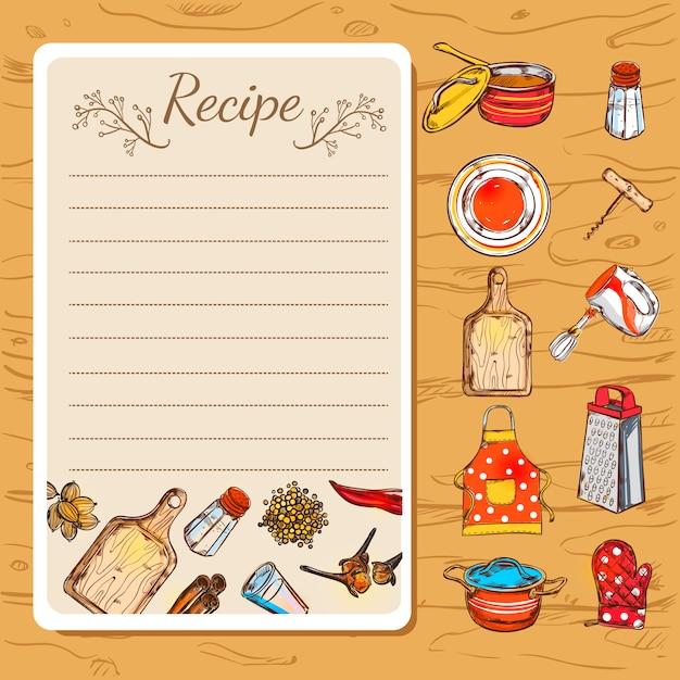 Libro de recetas y utensilios de cocina vector gratuito