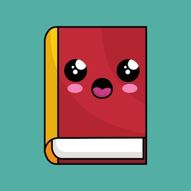 Libro De Texto Kawaii Personaje De La Escuela Descargar Vectores