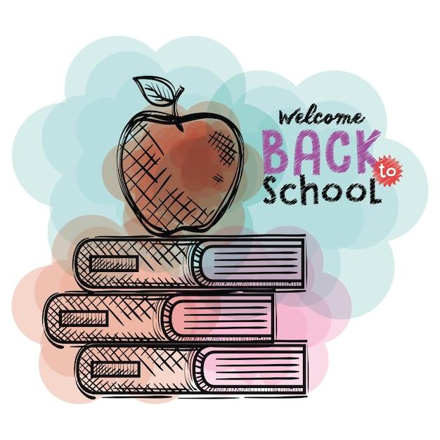 Libros De Apilamiento Y Dibujos De Manzana A La Escuela Descargar