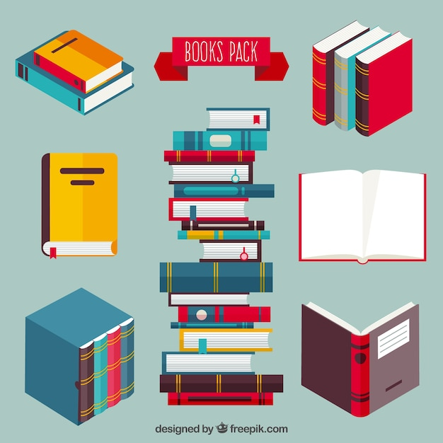 Libros coloreados paquete vector gratuito