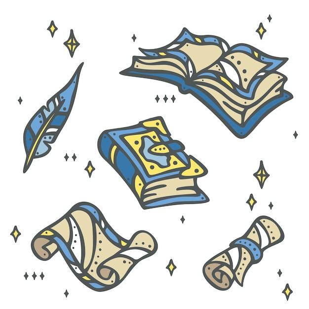 Libros de magia, papel, rollo antiguo y pluma   Descargar Vectores ...