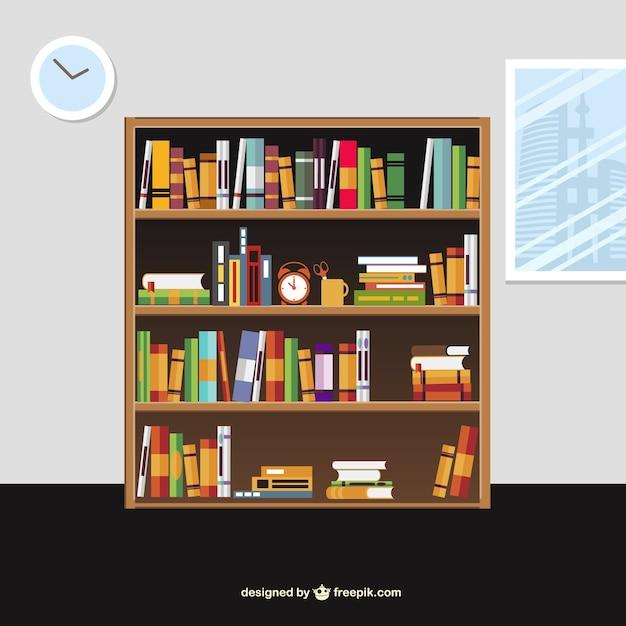 Libros en los estantes en estilo de dibujos animados - Estantes para libros ...