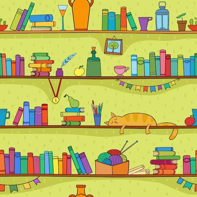 Libros, gatos y otras cosas en los estantes. patrón transparente de vector Vector Premium