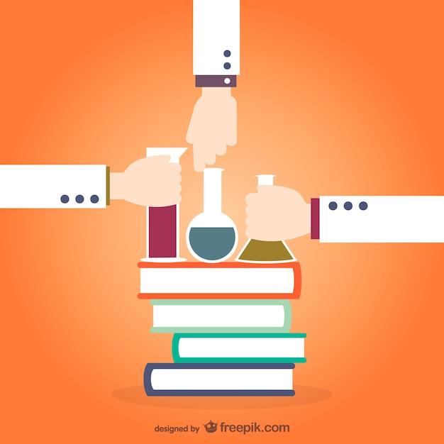 Libros de química y tubos de ensayo vector gratuito