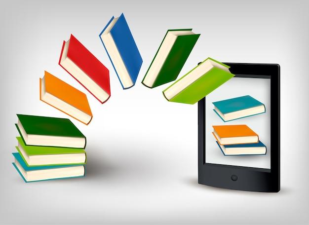 Libros volando en una tableta. Vector Premium