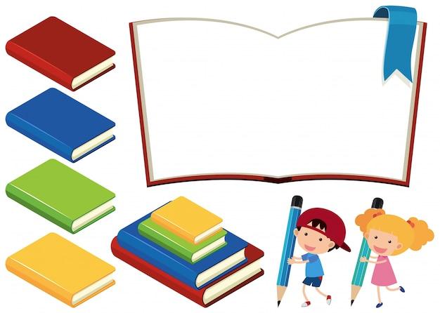 Libros y niños felices sobre fondo blanco | Descargar Vectores Premium