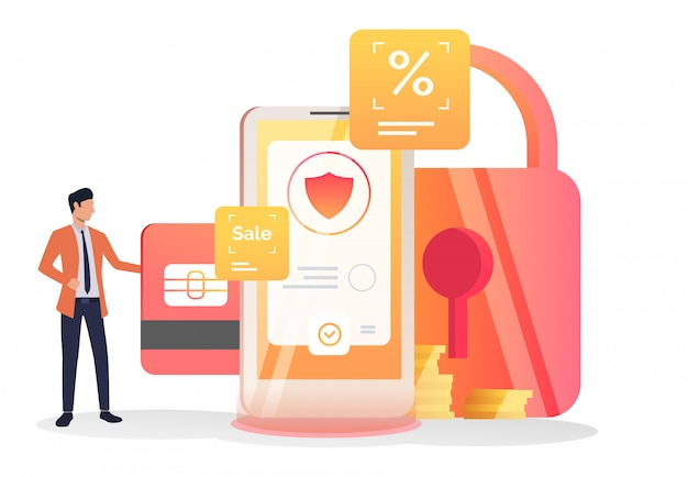 Líder empresarial insertando tarjeta de crédito en celular vector gratuito