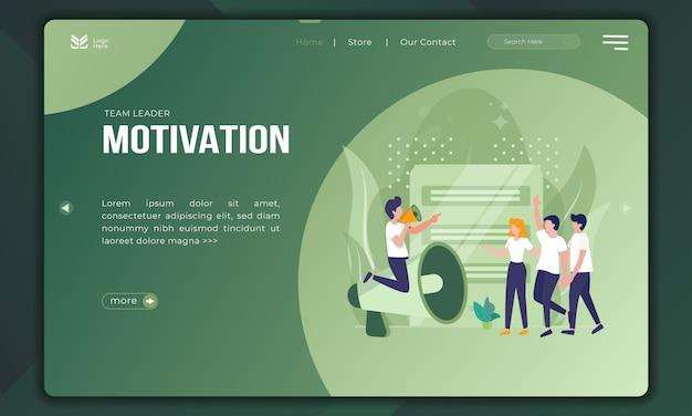 El líder del equipo motiva, las ilustraciones apoyan al equipo. Vector Premium