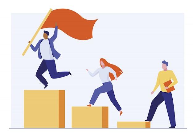 Líder ganando competencia empresarial vector gratuito