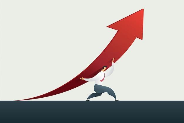 Líder del hombre de negocios que sostiene la flecha encima del camino a la meta u objetivo en el negocio, éxito Vector Premium