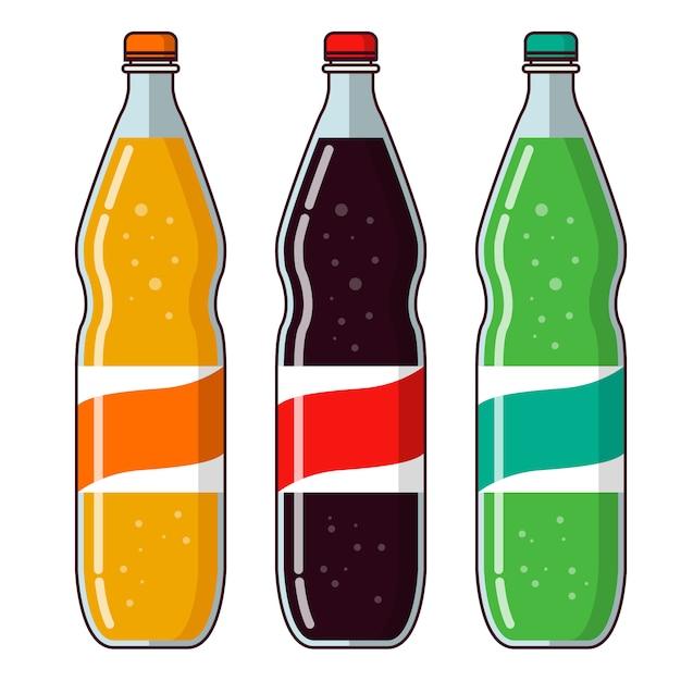 Limonada botellas de plástico, naranja cítrica y agua de soda de limón. Vector Premium