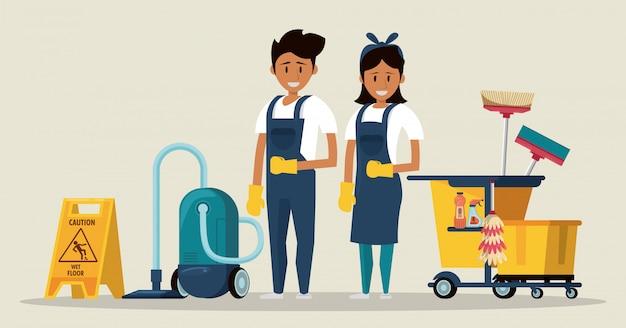 Limpiadores con productos de limpieza. servicio de limpieza. vector gratuito