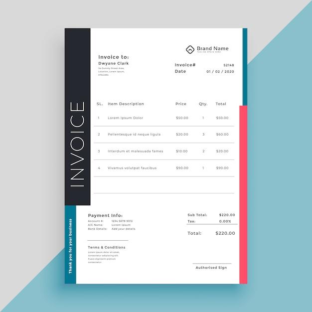 Limpie la plantilla de negocios factura moderna vector gratuito