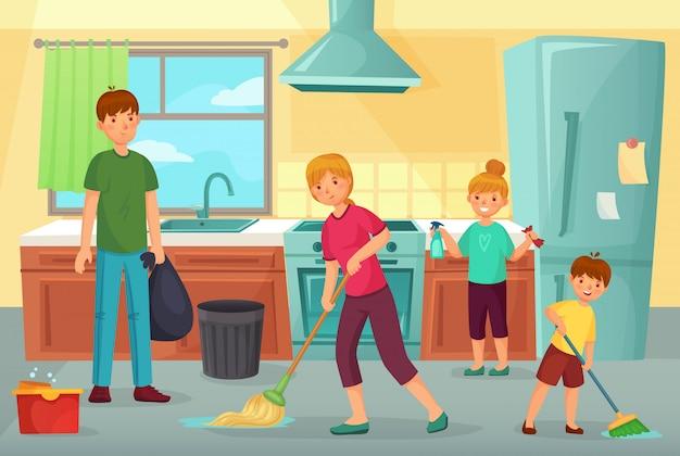 Limpieza Familiar De Cocina Padre Madre E Hijos Limpian La Cocina