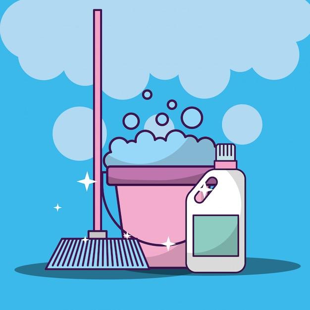 Limpieza de lavandería relacionada Vector Premium