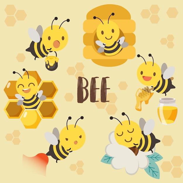 Linda abeja de personaje, colmena de abeja, miel de abeja, abeja durmiendo en flor Vector Premium