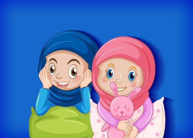 Linda amiga musulmana vector gratuito