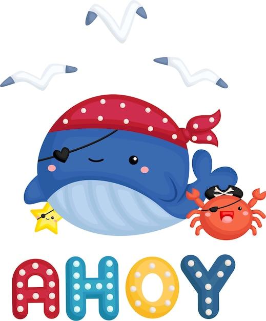 Una linda ballena con un disfraz de pirata con un pequeño cangrejo al lado. vector gratuito