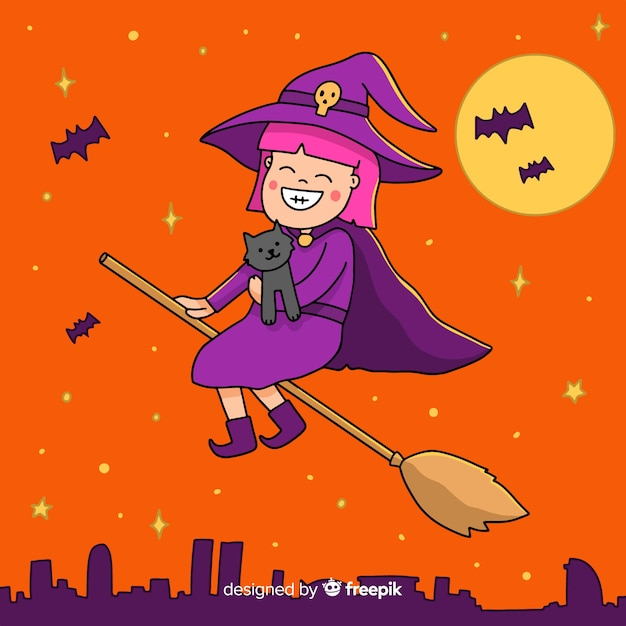 Linda bruja de halloween en una escoba vector gratuito