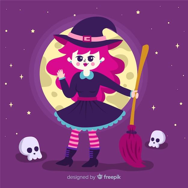 Linda bruja de halloween con escoba vector gratuito