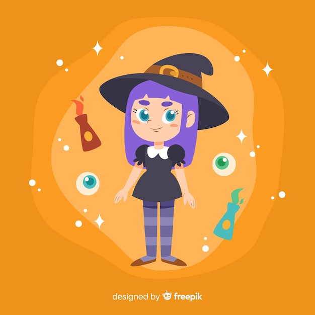 Linda bruja de halloween con gato negro vector gratuito