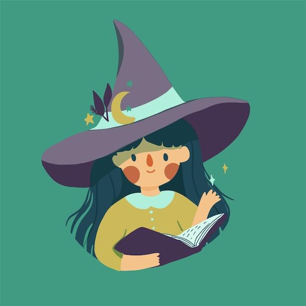 Linda brujita con sombrero mágico Vector Premium