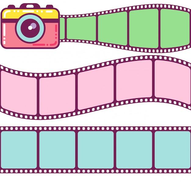 Linda cámara y marcos de película vintage. Vector Premium