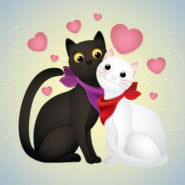 Linda Caricatura Gato Enamorado Vector Premium