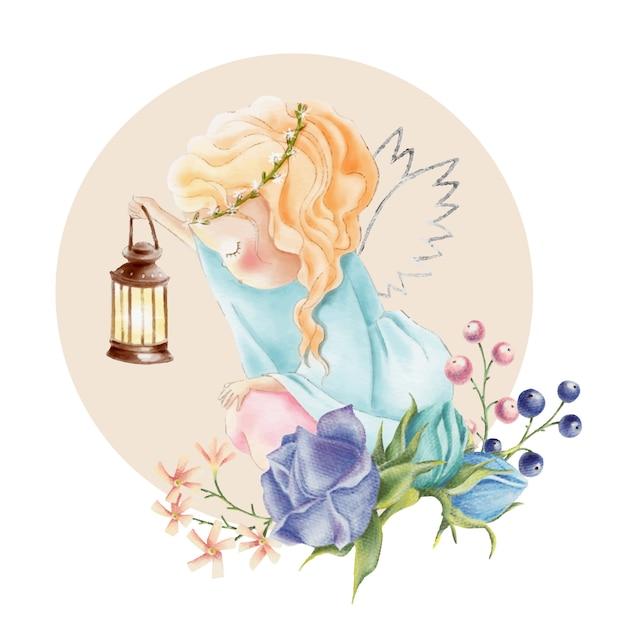 Linda chica acuarela ángel con luz y rosa flores Vector Premium