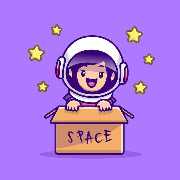 Linda chica astronauta en la ilustración de dibujos animados de caja. concepto de icono de tecnología de personas vector gratuito