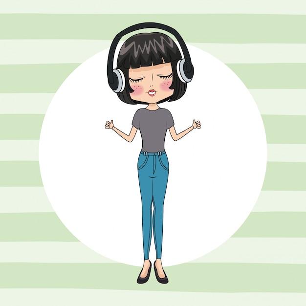 Linda chica con auriculares Vector Premium