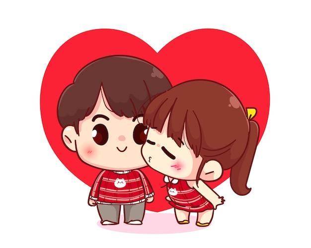 Linda chica besando a su novio, feliz día de san valentín, ilustración de personaje de dibujos animados vector gratuito