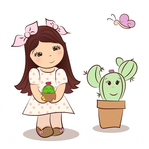 Linda chica y cactus kawaii Vector Premium