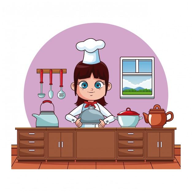 Linda chica chef cocinar en dibujos animados de cocina - Cocina dibujo ...