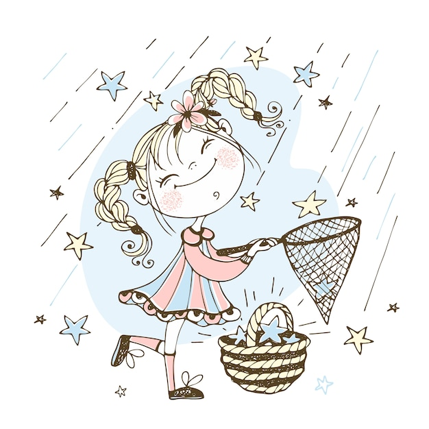 Una linda chica con coletas atrapa estrellas fugaces Vector Premium