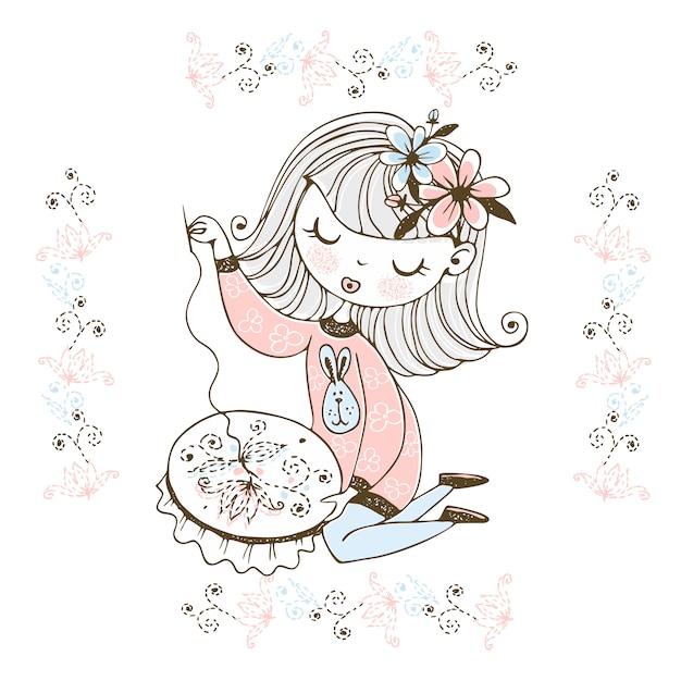 Una linda chica se dedica a la costura y el bordado de un hermoso patrón en un aro. Vector Premium