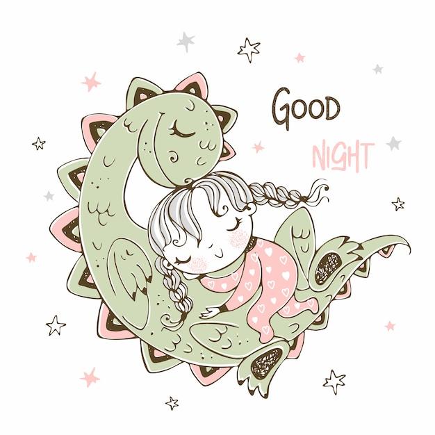 Linda chica durmiendo con su mascota dinosaurio Vector Premium