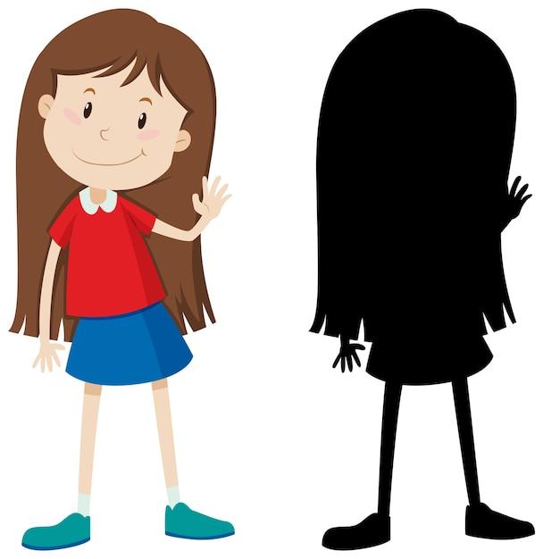 Linda chica de pelo largo en color y silueta vector gratuito