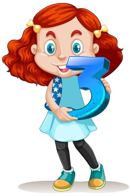 Linda chica con pelo rojo con matemáticas número tres vector gratuito