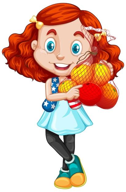 Linda chica con pelo rojo sosteniendo frutas en posición de pie vector gratuito