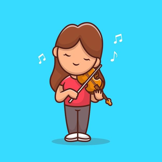 Linda chica tocando la ilustración de dibujos animados de violín. concepto de icono de música de personas vector gratuito