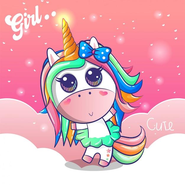 Linda chica unicornio con un fondo rosa Vector Premium