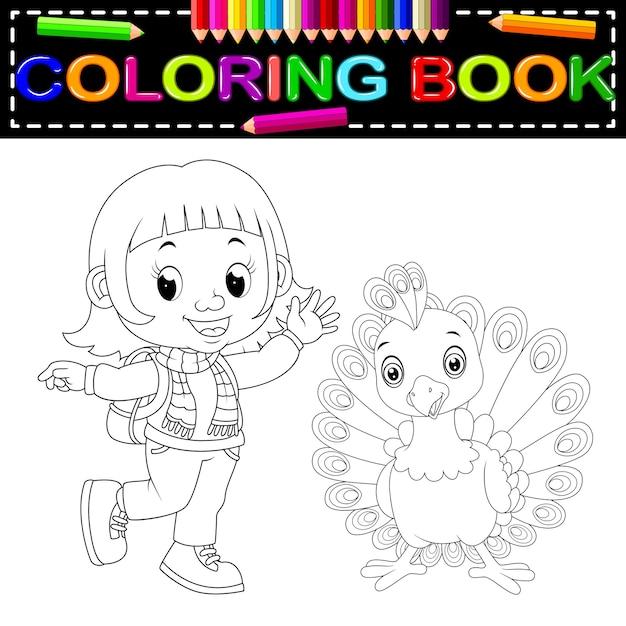 Linda chica y pavo real para colorear | Descargar Vectores Premium
