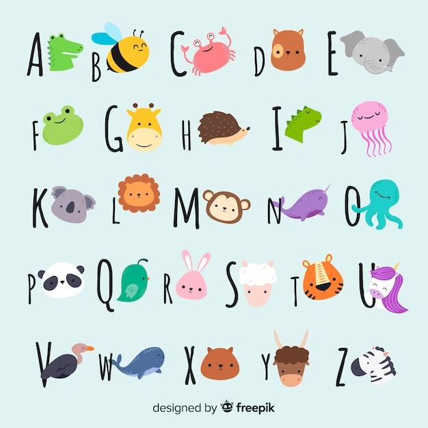 Linda colección de animales con caras vector gratuito