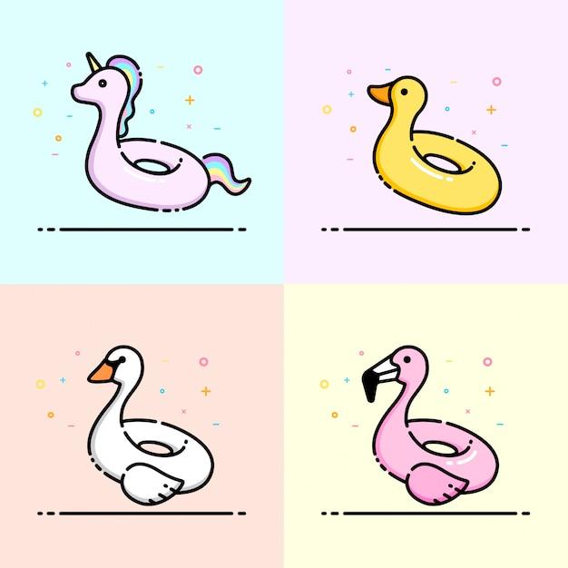 Linda colección de iconos de animales piscina anillo de natación Vector Premium